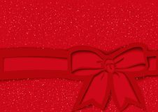 Czerwony Świąteczny tło z łękiem i faborek w wycinanka stylu ilustracji