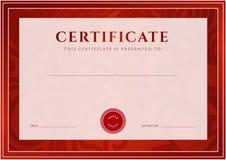 Czerwony świadectwo, dyplomu szablon. Nagroda wzór Fotografia Royalty Free