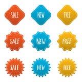Czerwony żółty błękit kilka styl majcher odznaki etykietki set Zdjęcie Stock
