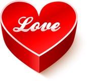 Czerwony 3D serce z szyldową miłością Fotografia Stock
