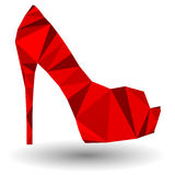 Czerwony abstrakcjonistyczny szpilki kobiety but w origami stylu Zdjęcie Royalty Free