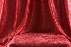 czerwony aksamit na scenie Obrazy Stock