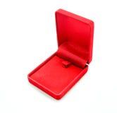 Czerwony aksamita pudełko na białym tle, Otwartym Fotografia Royalty Free