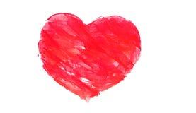 Czerwony akwareli serce odizolowywający na bielu Fotografia Stock