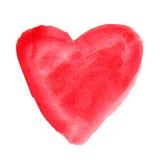 Czerwony akwareli serce ręka patroszona Zdjęcie Royalty Free