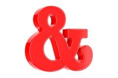 Czerwony ampersand symbol, 3D rendering ilustracji