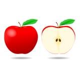 Czerwony Apple i połówka - ilustracja Zdjęcia Royalty Free