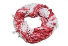 Czerwony arabski szalik odizolowywający na białym tle Fotografia Royalty Free