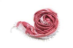 Czerwony arabski szalik odizolowywający na białym tle Fotografia Stock