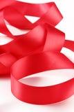 czerwony atłas tasiemkowy Fotografia Royalty Free