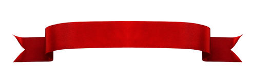 Czerwony atłasowy tasiemkowy sztandar