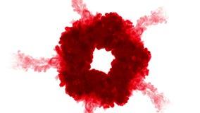 Czerwony atrament na białym tle rozpuszcza w wodzie piękny skutek modelujący na komputerze 3d odpłacają się z luma matte dla zbiory wideo