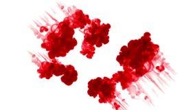 Czerwony atrament na białym tle rozpuszcza w wodzie piękny skutek modelujący na komputerze 3d odpłacają się z luma matte dla zbiory
