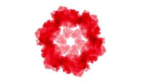 Czerwony atrament na białym tle rozpuszcza w wodzie piękny skutek modelujący na komputerze 3d odpłacają się z luma matte dla zdjęcie wideo