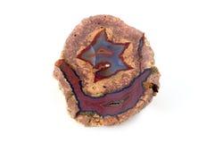 Czerwony błękitny agat na białym odosobnionym tle Obraz Royalty Free