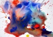 Czerwony błękitny pomarańczowy akwareli pluśnięcie na białym tle Obraz Royalty Free
