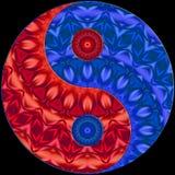 Czerwony Błękitny Ying Yang Ilustracja Wektor