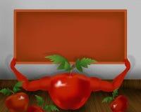 Czerwony błyszczący pomidor z rękami i trzymać małą pomarańcze deskę ilustracyjna Fotografia Royalty Free