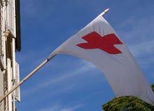 czerwony bandery krzyżowa Zdjęcia Stock