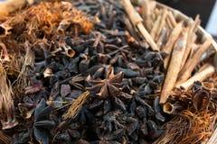 Czerwony bawełniany drzewo kwitnie wysuszonego i Cynamonowego z gwiazdowym aniseed Zdjęcie Stock