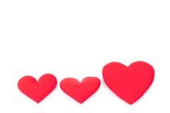 czerwony białe tło serc fotografia stock