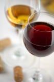 czerwony biały wino Obrazy Stock