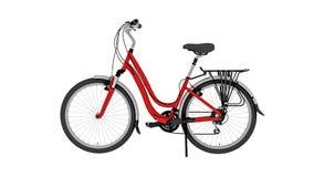 Czerwony bicykl, rower odizolowywający na białym tle, boczny widok ilustracja wektor