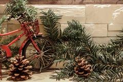 Czerwony bicykl, sosen gałąź i rożki, fotografia royalty free