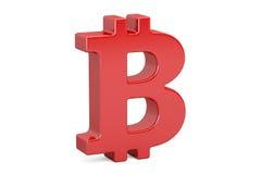 Czerwony bitcoin symbol, 3D rendering Fotografia Royalty Free