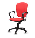 Czerwony biurowy krzesło. Odosobniony Obrazy Stock