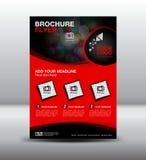 Czerwony biznesowy broszurki ulotki projekta układu szablon w A4 rozmiarze, Po Obraz Royalty Free