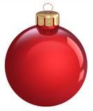 Czerwony Bożenarodzeniowy bauble, odizolowywający na białym tle Fotografia Royalty Free