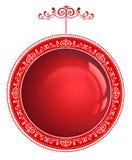 Czerwony Bożenarodzeniowy bauble z ornamentem odizolowywającym na bielu Zdjęcie Royalty Free