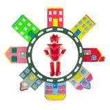 Czerwony bohater w okrąg drodze z domem robić od plasteliny use dla Obrazy Stock