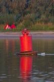 Czerwony boja w rzece Fotografia Royalty Free