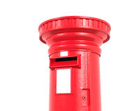 Czerwony Brytyjski postbox odizolowywający na białym tle Fotografia Royalty Free