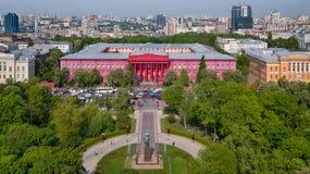 Czerwony budynek Krajowy uniwersytet w Ukraina Fotografia Stock