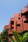Czerwony budynek luksusowy hotel, Tenerife, wyspa kanaryjska, Hiszpania Zdjęcie Stock