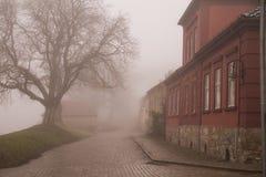 Czerwony budynek w th mgle Fotografia Royalty Free