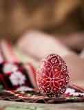 Czerwony bulgarian Easter jajko Zdjęcie Stock