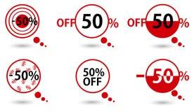 Czerwony cena wektor bookmarks 50 procentów sprzedaż daleko Fotografia Royalty Free