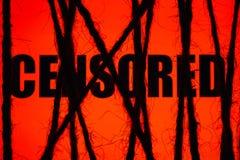 Czerwony ` cenzurujący teksta ` Pojęcie cenzura Internet ograniczający dostęp obraz stock