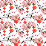 Czerwony chiński lampion w wiosen menchiach kwitnie jabłka, śliwki, wiśni, Sakura i dancingowych dźwigowych ptaków -, bezszwowy w royalty ilustracja