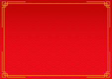 Czerwony chiński tło z żółtego złota granicą Fotografia Stock