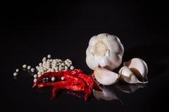 Czerwony chili czosnek i pieprz Fotografia Stock