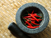 CZERWONY chili pieprze w omłotowej koszykowej teksturze Zdjęcia Stock
