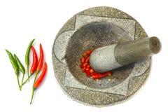 Czerwony chili w Kamiennym moździerzu Obrazy Stock