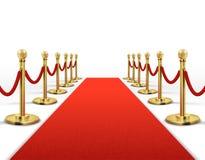 Czerwony chodnik dla osobistości z złocistą linową barierą Sukcesu, prestiż i Hollywood wydarzenia wektoru pojęcie, royalty ilustracja