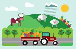 Czerwony ciągnik na polu Płaska ilustracja Zdjęcie Royalty Free