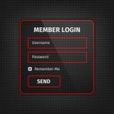 czerwony członek nazwy użytkownika ui na czarnym tle Obrazy Royalty Free